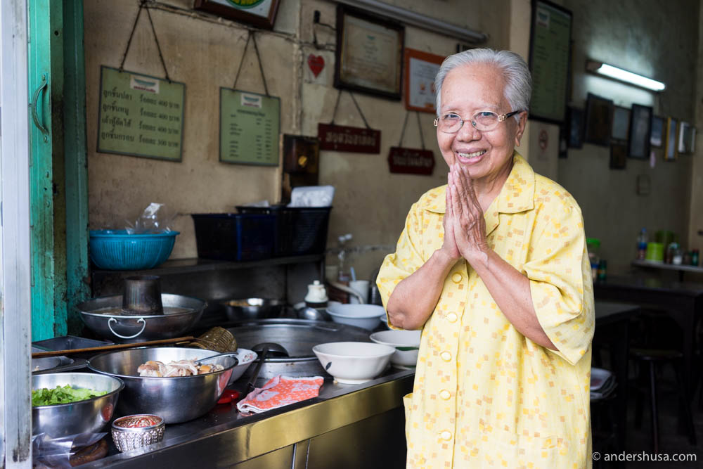 The lovely chef and owner, Sudjit, wakes up every morning at 4 AM to prepare the soup
