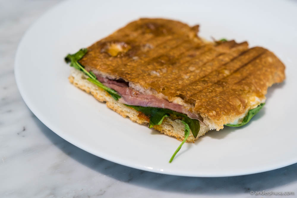 Focaccia with Parma ham, cheese, and spinach. You can have it toasted or fresh
