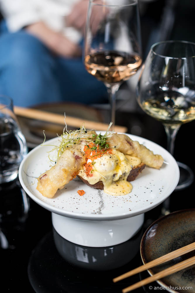 Tempura squid with yuzu hollandaise and poached egg on brioche