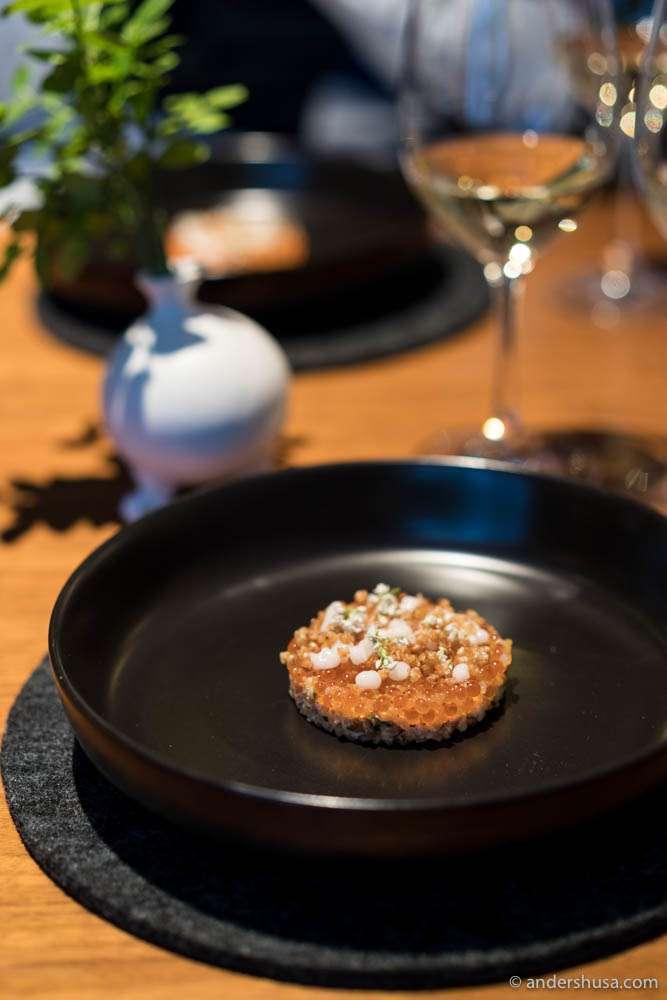 Crispy buckwheat and fish roe
