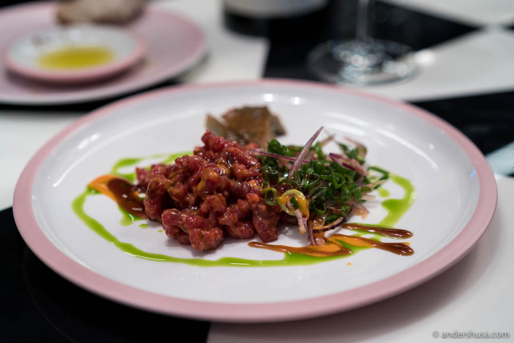 Beef tartare with hoisin and sriracha