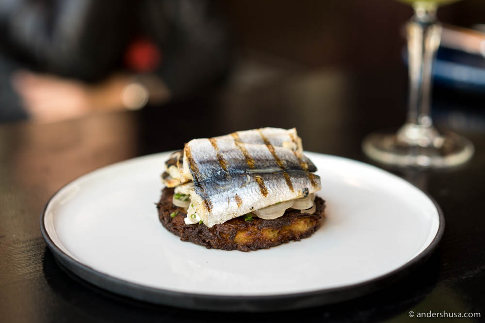 Grilled Baltic herring, chevre, potato rösti, and pickled shallots