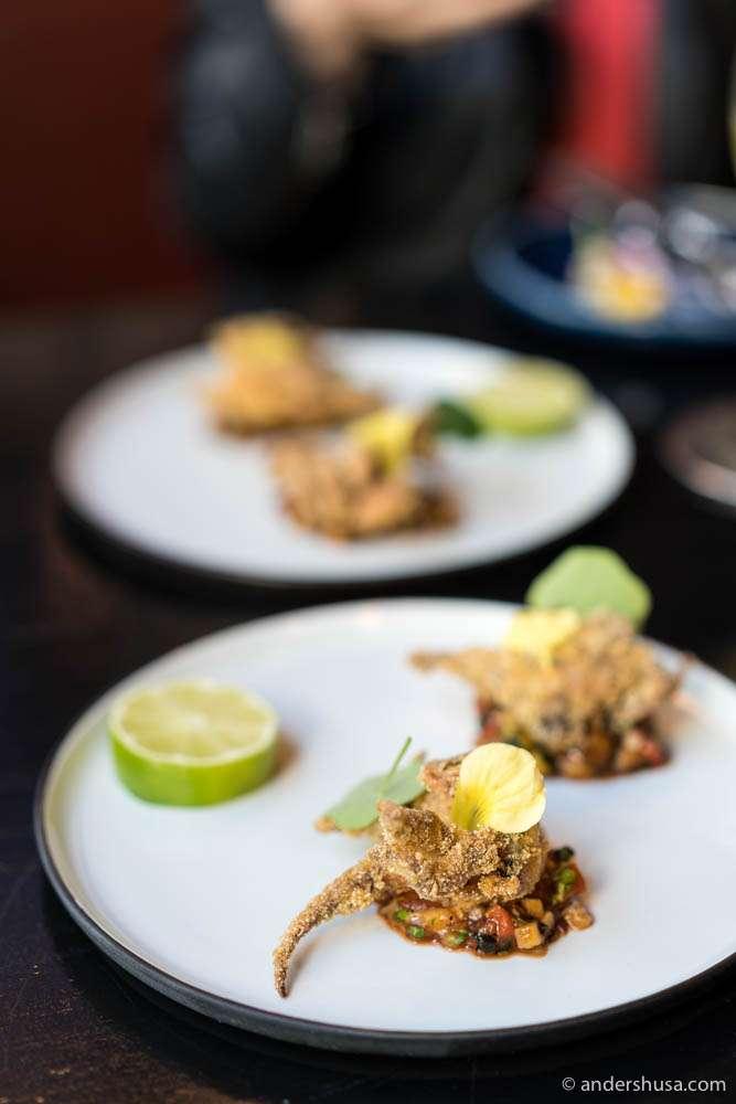 Octopus tempura with courgette-pepper salsa & coriander