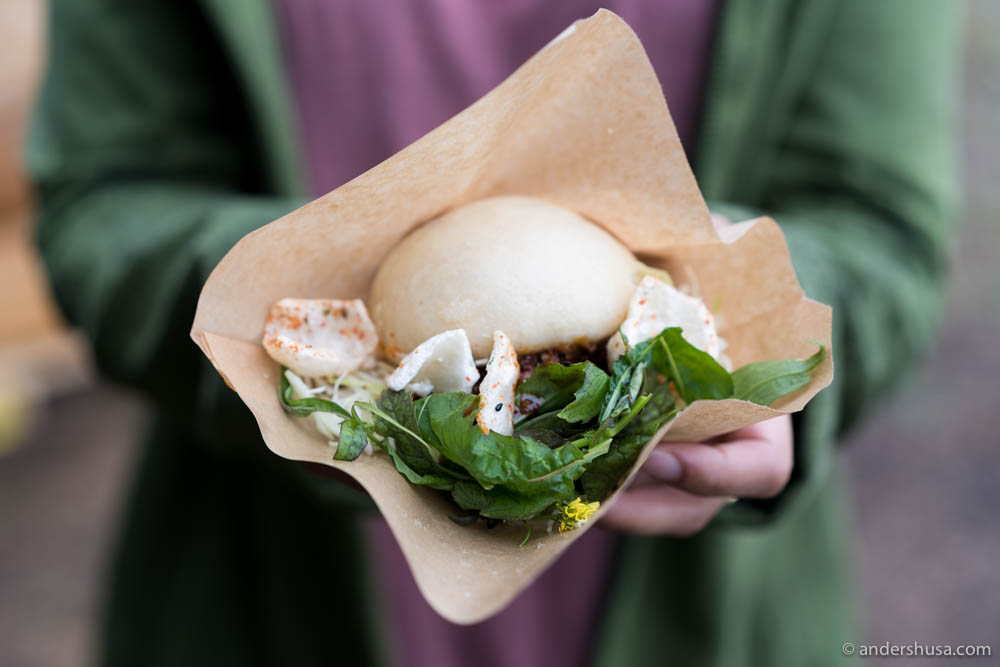 Bao with pork, cabbage & XO sauce from The Golden Chimp