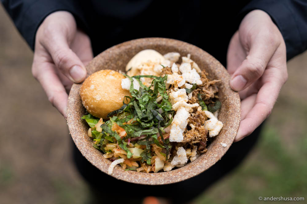 Sticky soy-glazed pork, kimchi salad, hitch crunch & crispy bao bun from Hitchhiker