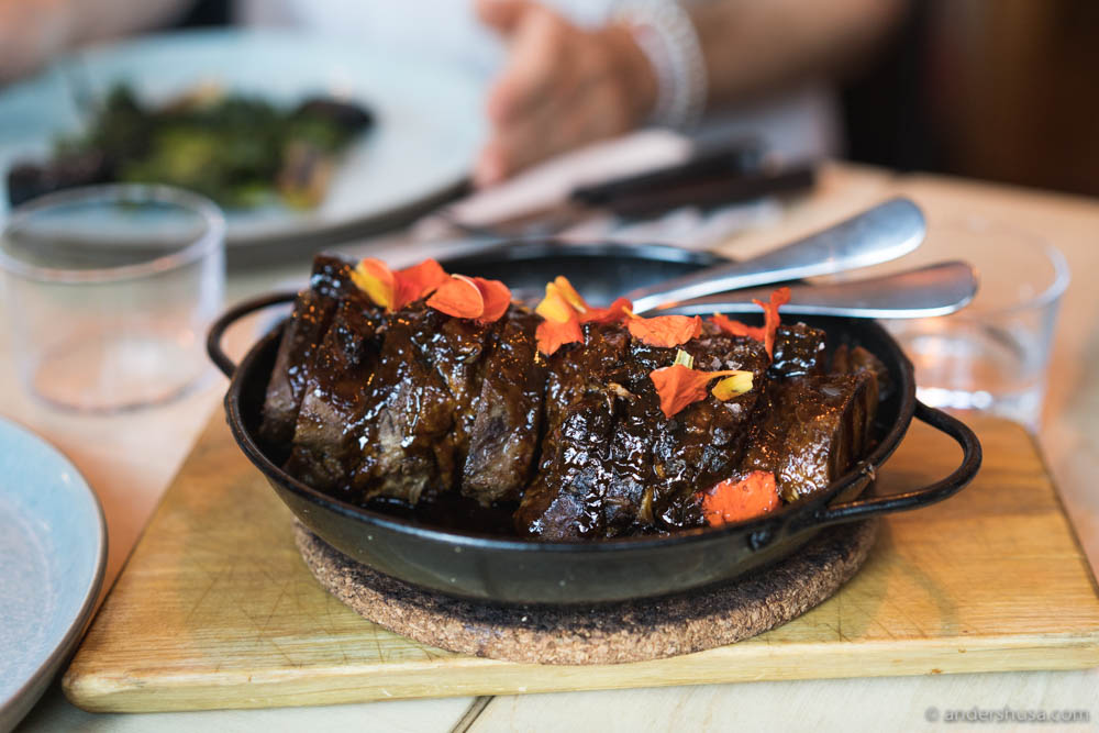 Braised & grilled leg of lamb served sharing-style
