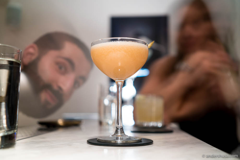 Silk Road – pisco, umeshu, St-Germain liqueur, homemade rhubarb-chili jam, bitters, lime & egg white