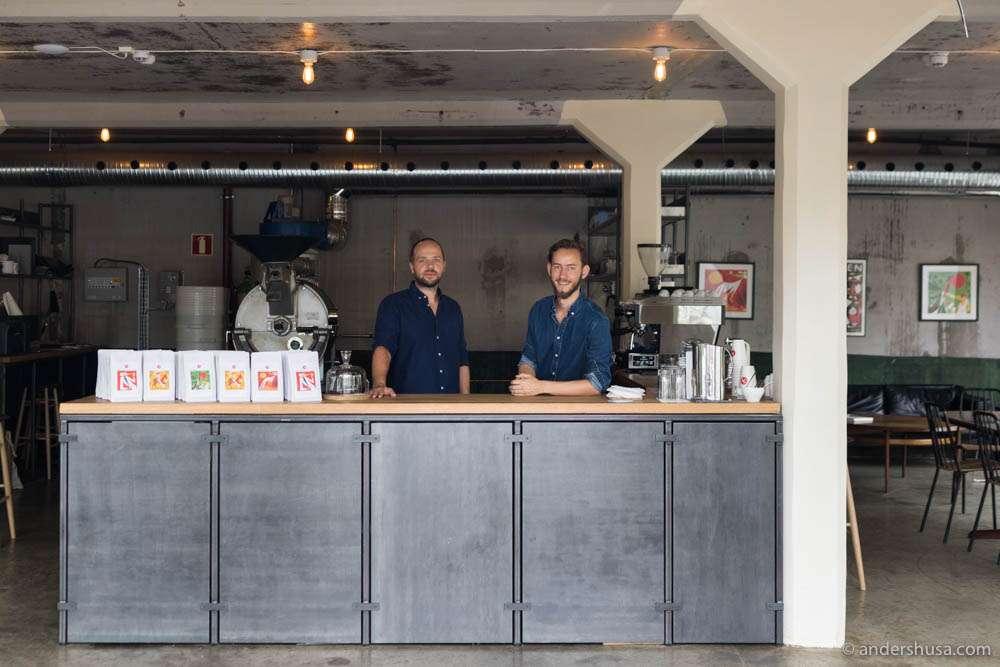 General manager Joakim Pedersen and barista and roaster Ludvik Bonna Hopstock