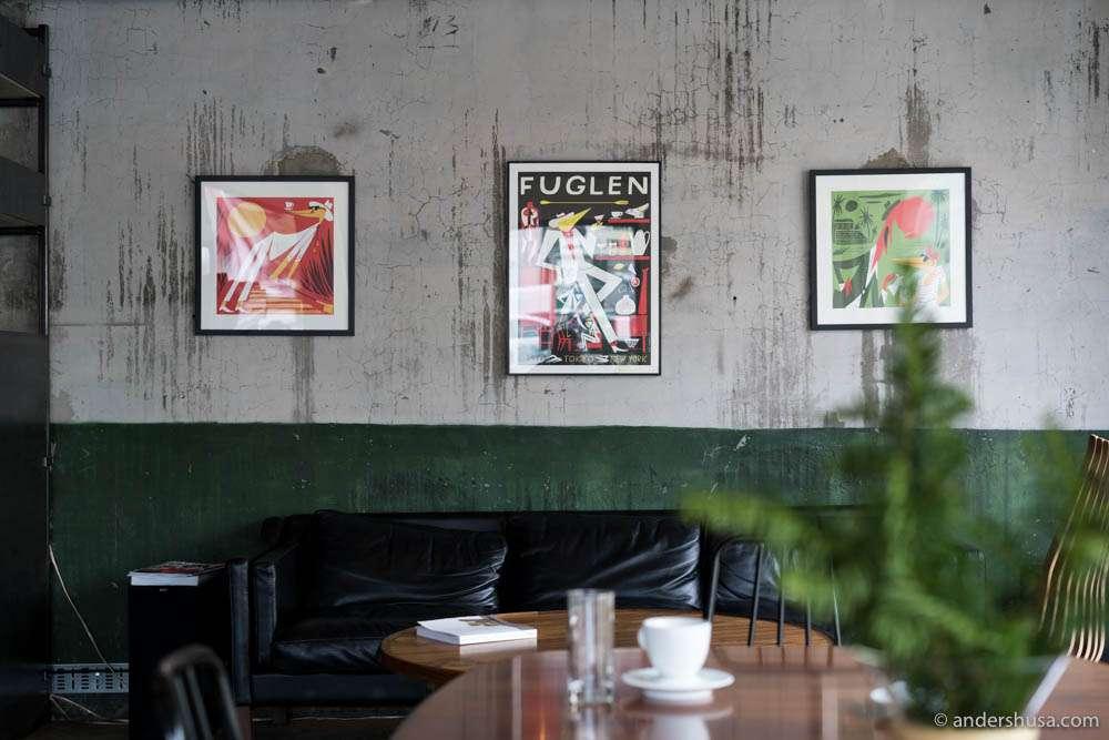 Wall art at Fuglen Coffee Roasters