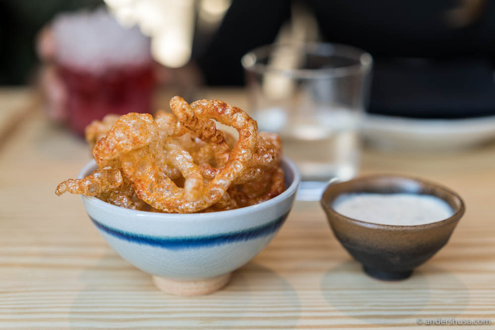 Chicharrónes – pork cracklings with bacon mayo