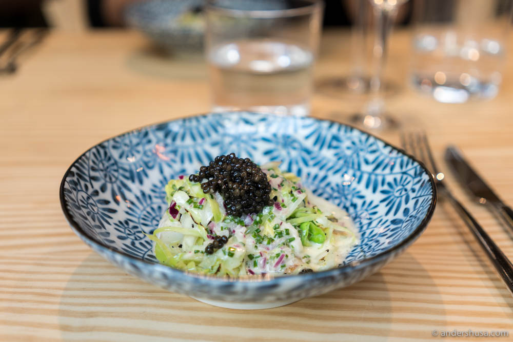 Grilled turbot, creamy sauce, chopped salad & caviar