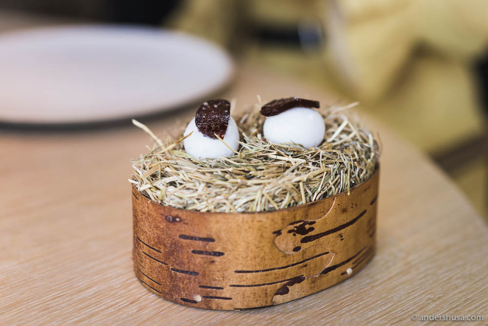 Quail egg with chorizo made from plum and rose hips