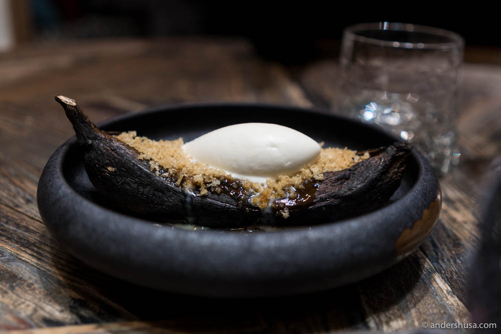 Josper banana, whiskey-toffee sauce, lemongrass ice cream & crumble