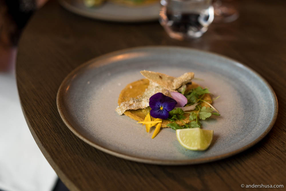 Crispy cod skin taco by chef Rosio Sanchez of restaurant Sanchez in Copenhagen, Denmark