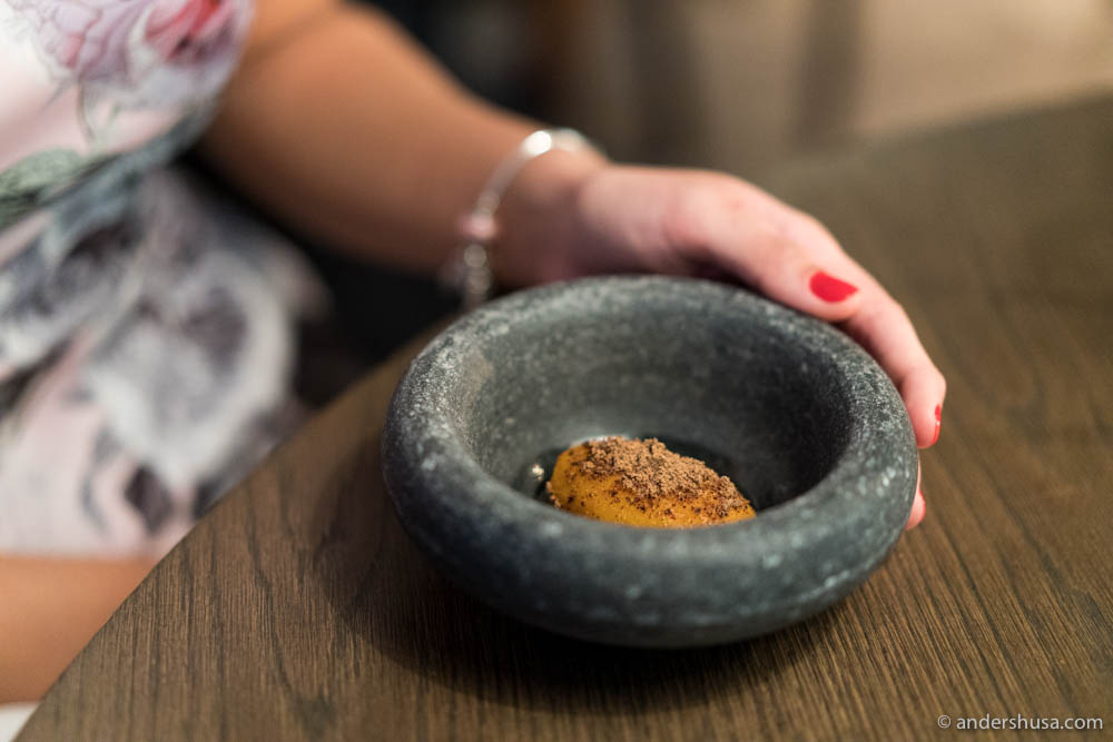 Soft pumpkin, black pumpkin miso & salted pumpkin innards by chef Matt Orlando of restaurant Amass in Copenhagen, Denmark