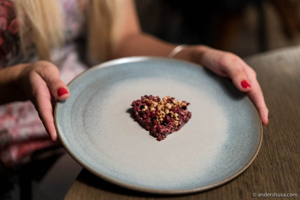 Juniper-smoked whale heart, lingonberries, barley & elderflower by chef Eline Bordvik of restaurant Koks on the Faroe Islands