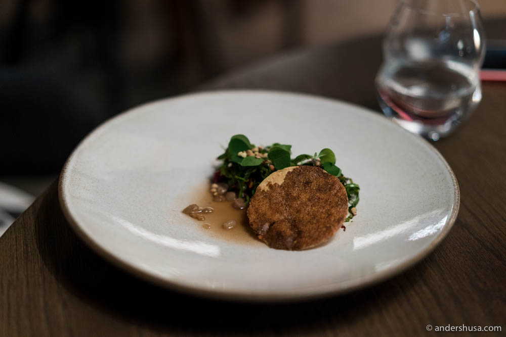Milk cow, chard and mushroom by chef Heidi Bjerkan of restaurant Credo in Trondheim, Norway