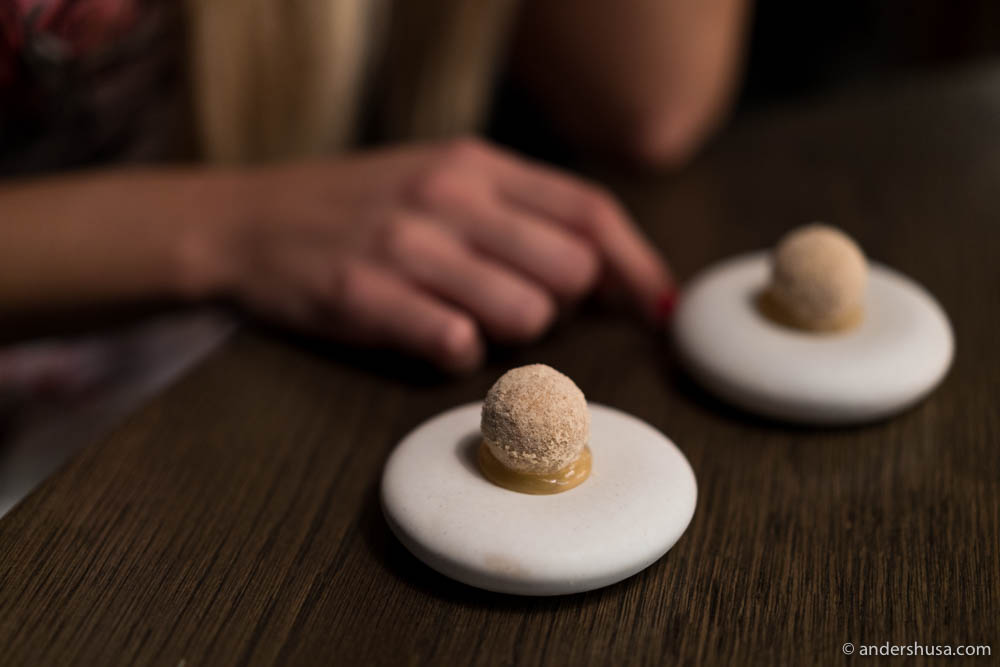 Liquid waffle by chef Esben Holmboe Bang of restaurant Maaemo in Oslo, Norway