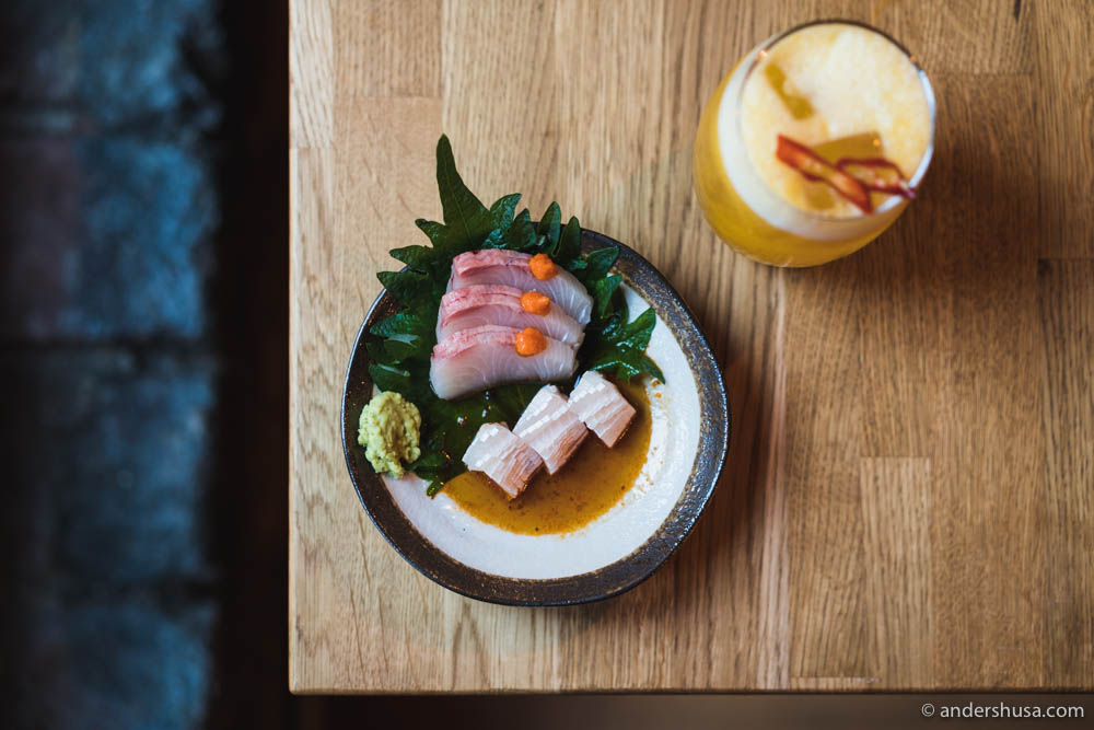 Hamachi sashimi, belly and loin, with orange koscho and dashi ponzu