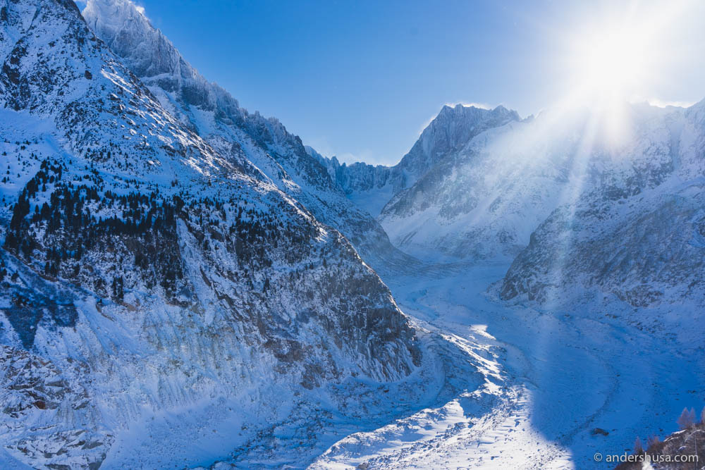 Mer de Glace (Sea of Ice) is the longest and largest glacier in France and the second longest in the Alps