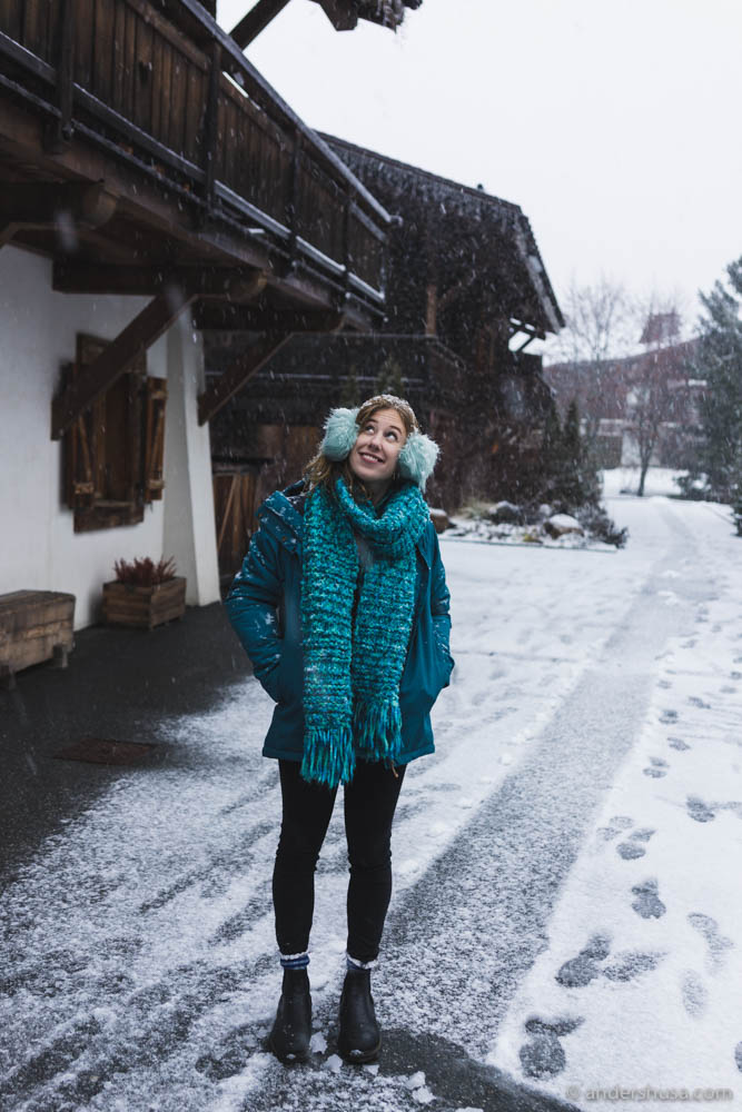 Kaitlin enjoying the snowy weather outside our hotel – Les Loges Blanches
