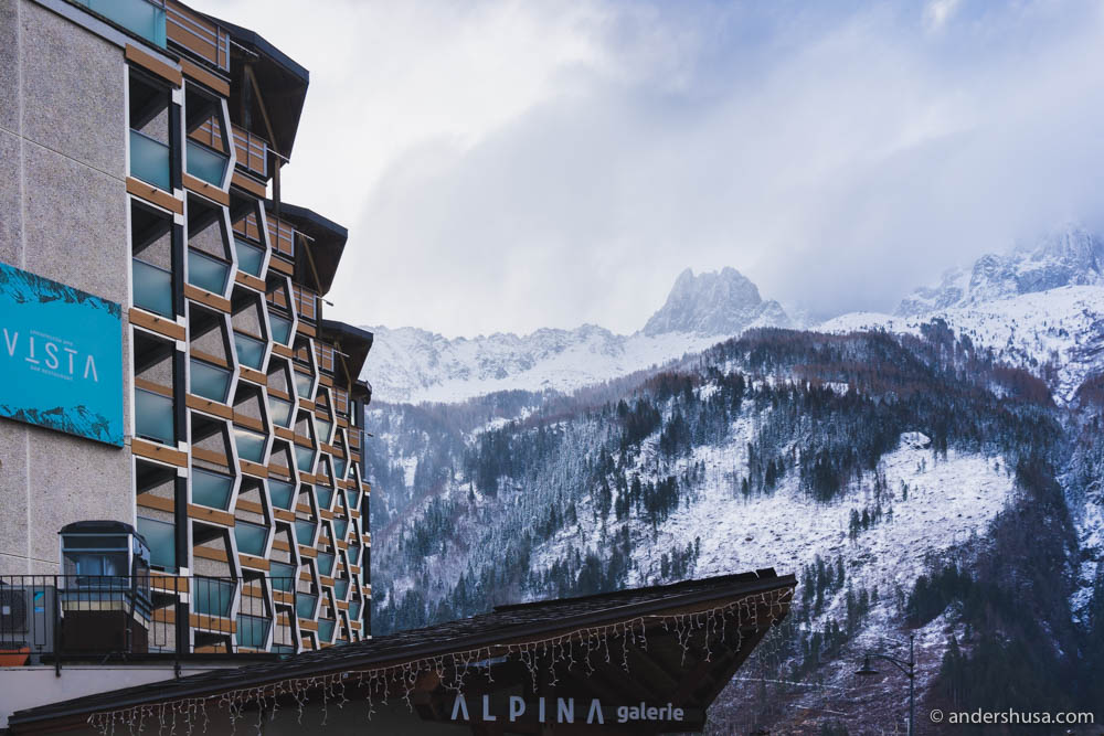 From the side, the balconies of Alpina hotel looks like cable cars