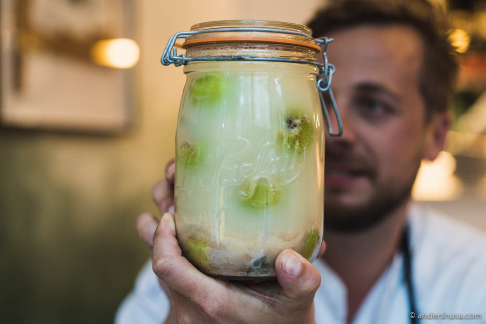 Fabio showcases some of the pickles at Hæbel
