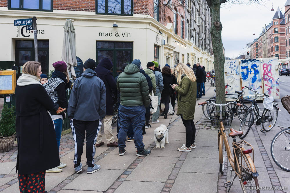 The never-ending line outside Juno the Bakery.