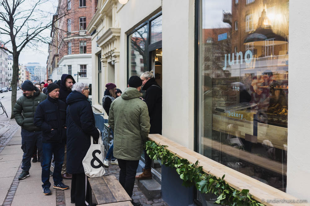 Long queue is long outside Juno the Bakery