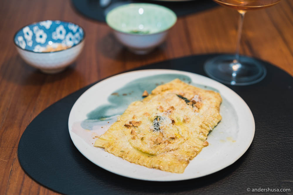 Egg ravioli with browned butter, toasted almonds & parmesan