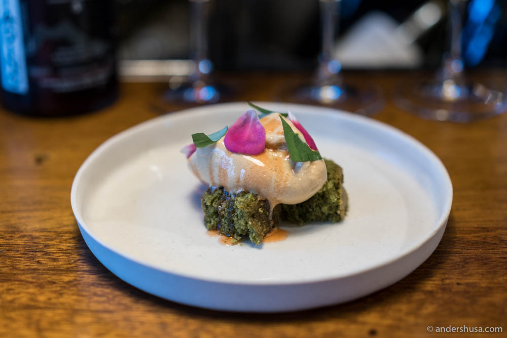Basil cake with sugar ice cream at no. 12 – Nolla in Helsinki, Finland.