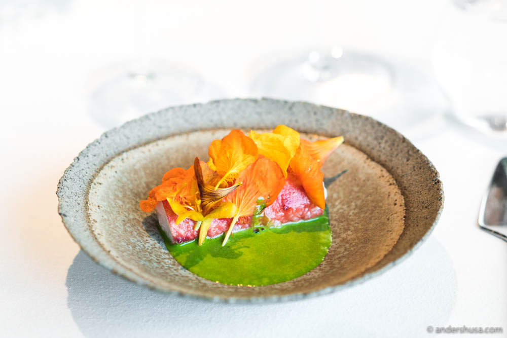 King crab from Finnmark, fried in butter, with nasturtium and honey at no. 15 – Maaemo in Oslo, Norway.