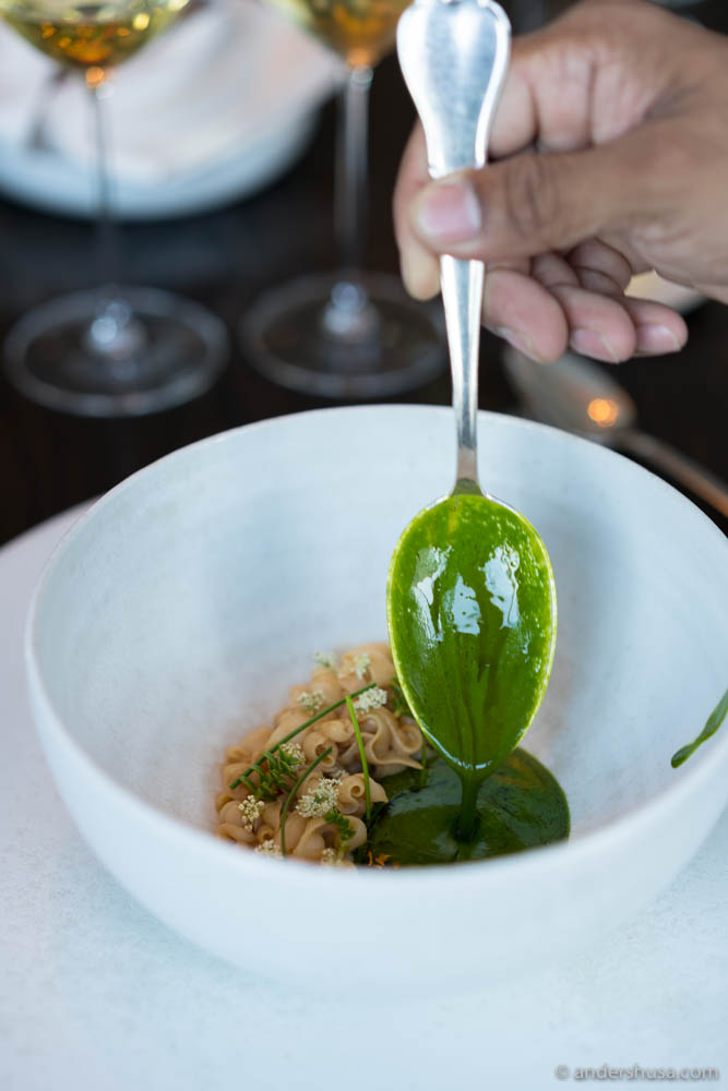 Danish squid with beach plants, brown butter, and white miso served with a sauce of kaffir lime oil and gooseberry juice at no. 17 – Studio in Copenhagen, Denmark.