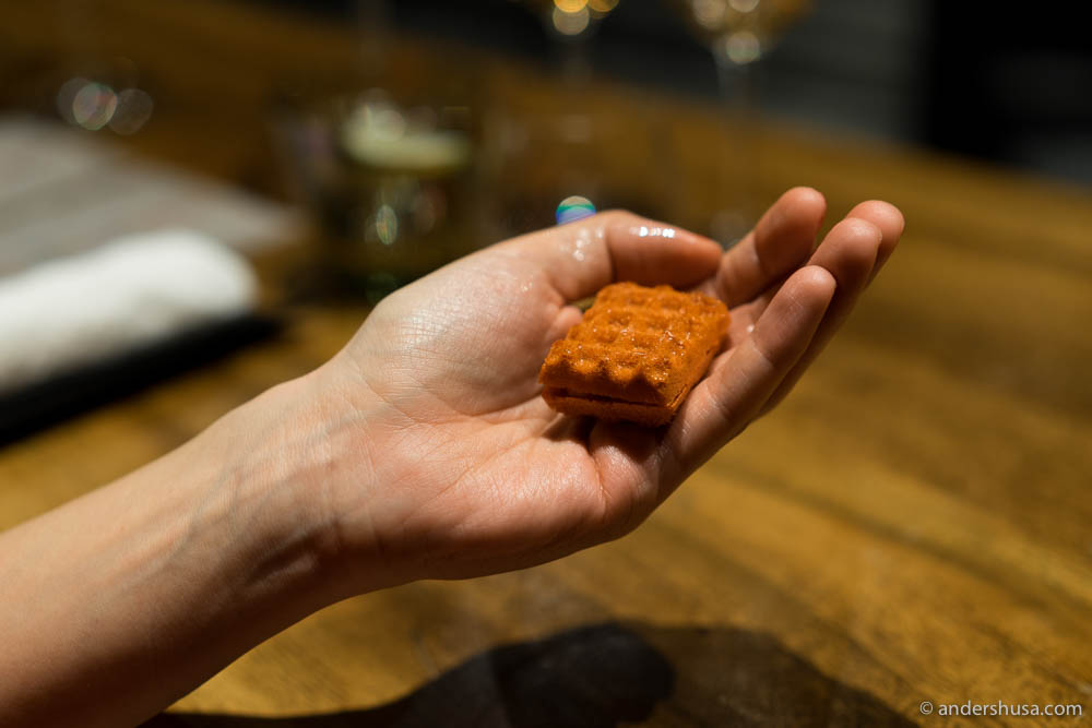 Carrot waffle with foie gras & yuzu at no. 19 – Gaggan in Bangkok, Thailand.