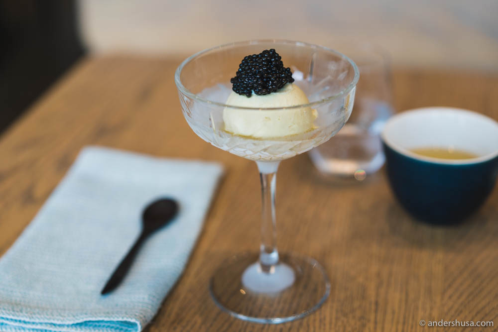 Roasted kelp ice cream with hazelnut oil and caviar at no. 20 – 108 in Copenhagen, Denmark.