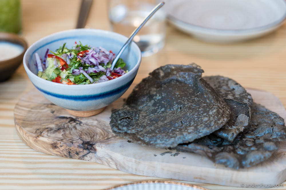 Blue corn tostadas with fresh guacamole at no. 24 – Katla in Oslo, Norway.
