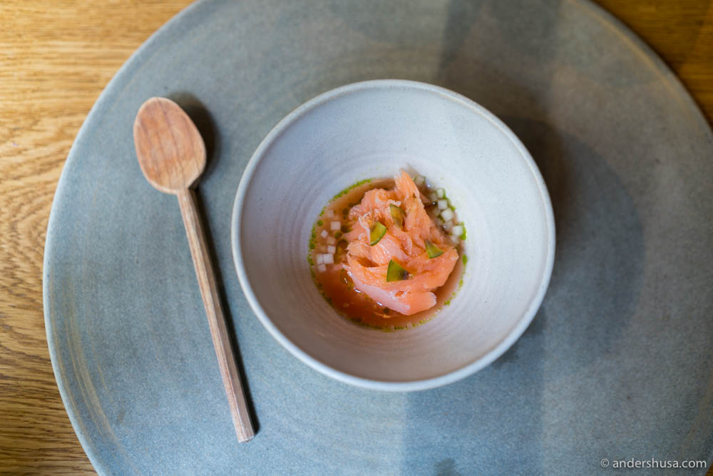 Cold- and hot smoked salmon at no. 9 – Kadeau in Copenhagen, Denmark.