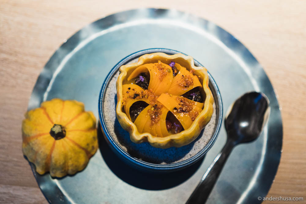 Pumpkin and beeswax with dried tomatoes and morels