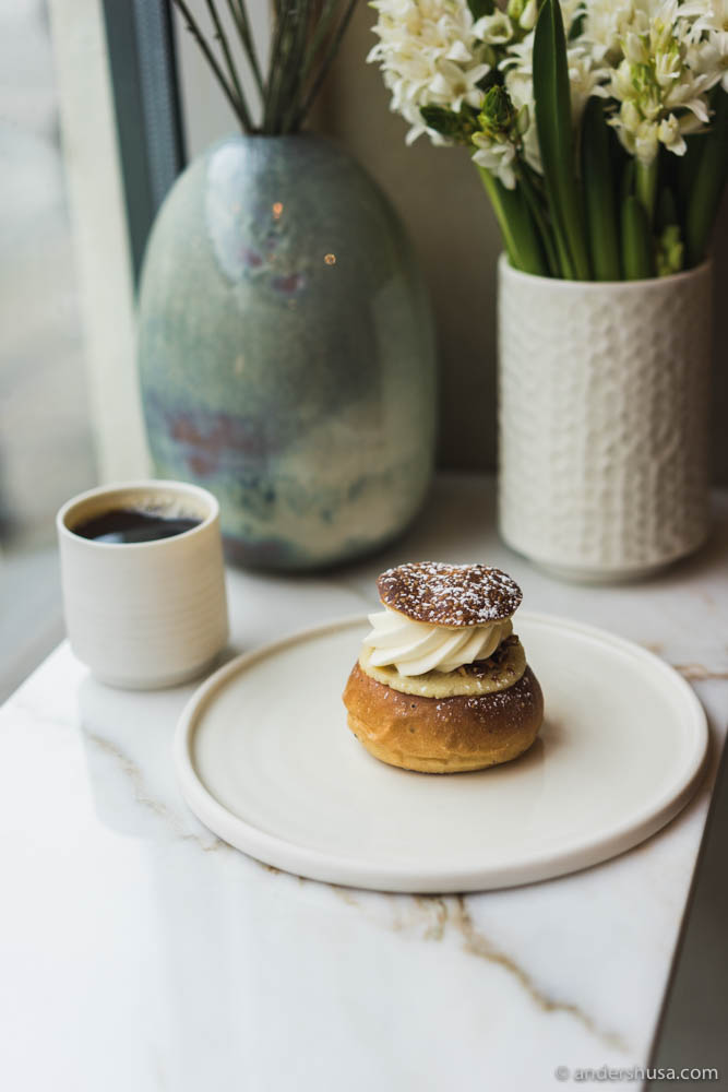 Classic Swedish semla bun at Juno the Bakery