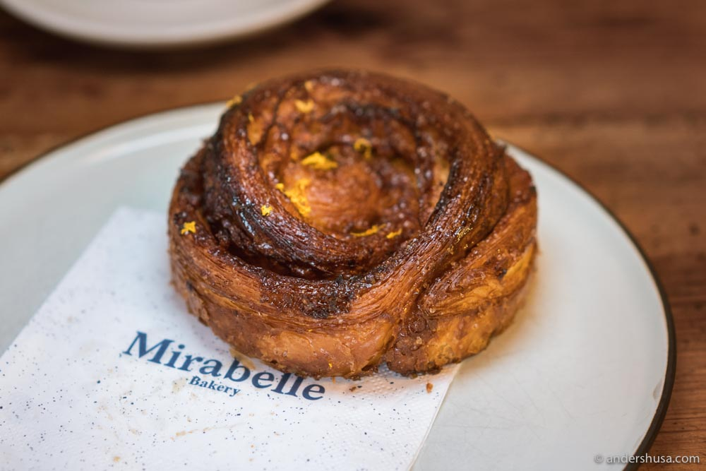 The cinnamon bun from Mirabelle Bakery.