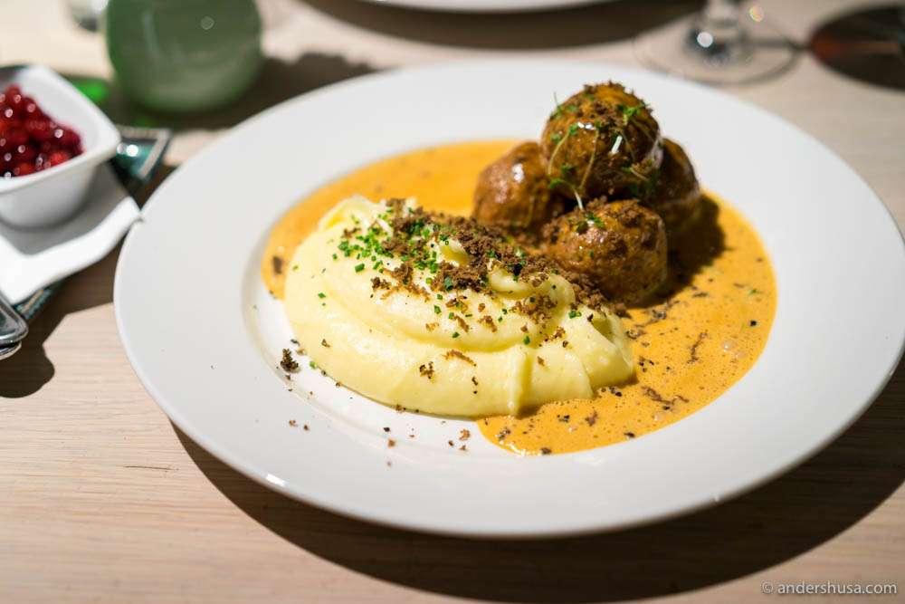 Swedish meatballs with potato purée and Gotland truffle enjoyed at Gamla Masters