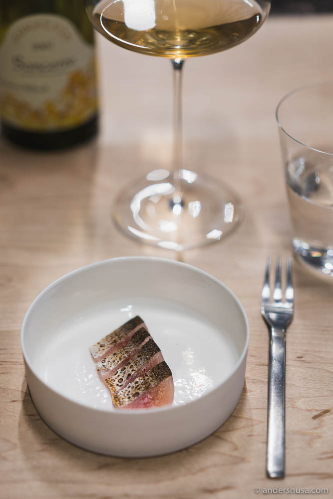 Sashimi from vendace, shoyu based on kombu, ham trimmings, katsobushi & green mustard