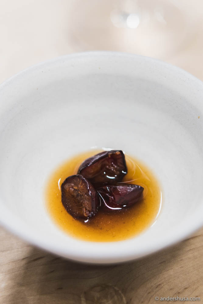 Slow-smoked plums and tomatoes & last year's tomato dashi