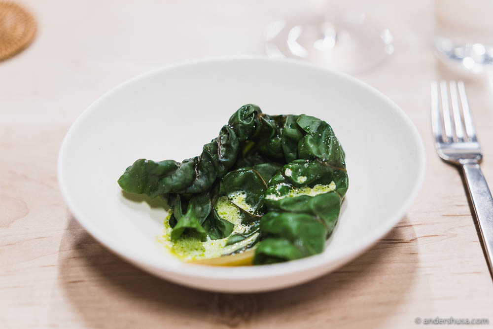 Steamed chard, 40% cream & garden oil