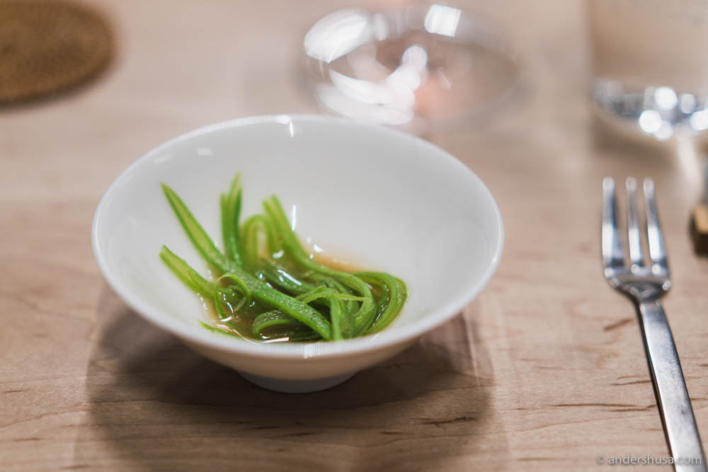 Stringbeans & dashi thickened with buckwheat