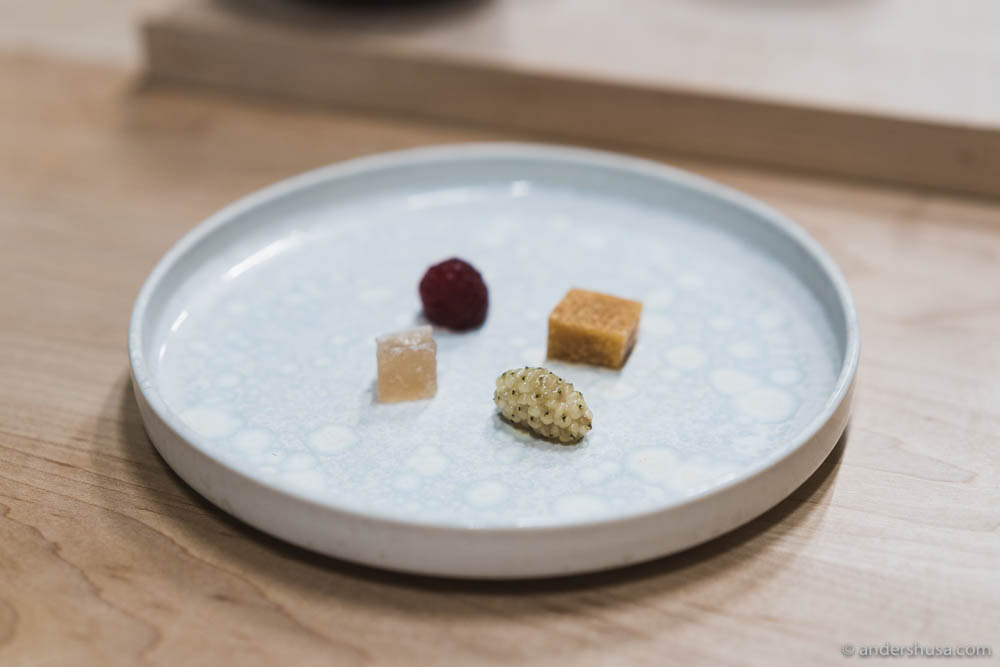 Mangalitza fat fudge, higashi (traditional Japanese confections made from plants) & two types of raspberries