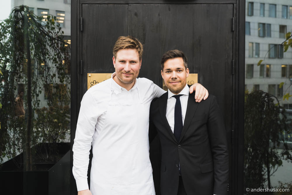 Executive chef Esben Holmboe Bang and Maaemo's general manager Niklas Johansson