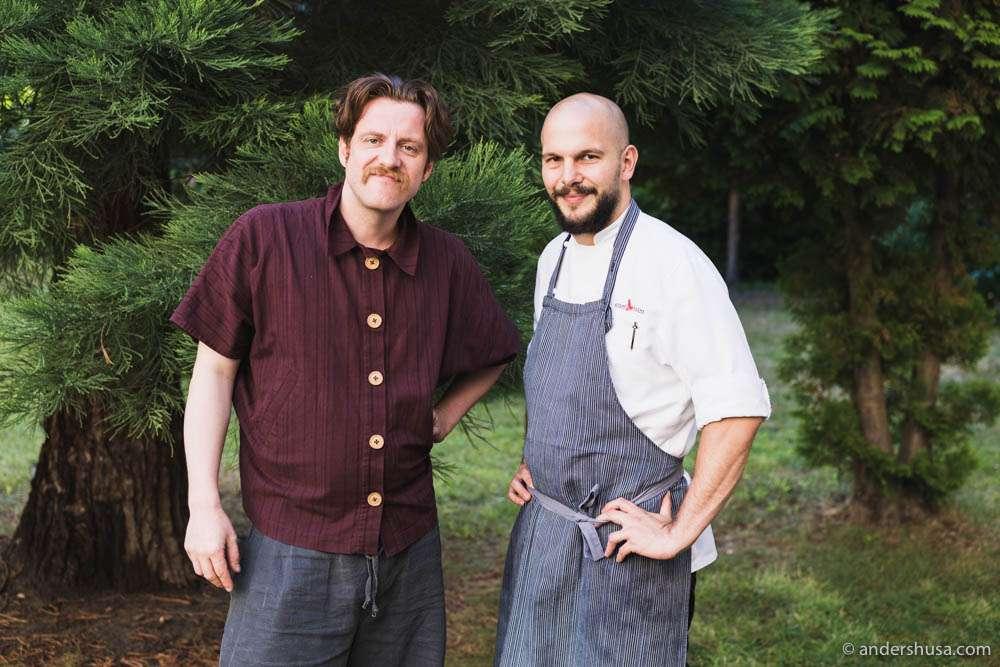 The two co-founders of Nobelhart & Schmutzig in Berlin. Head sommelier Billy Wagner and head chef Micha Schäfer