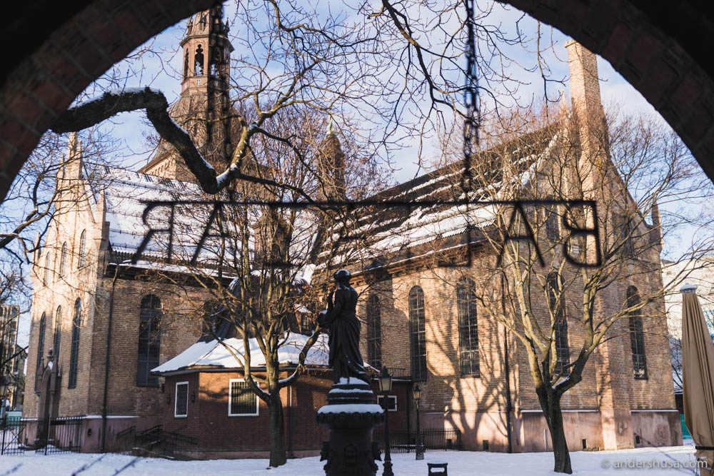 Restaurant Baltazar is situated in the open courtyard behind Oslo Cathedral