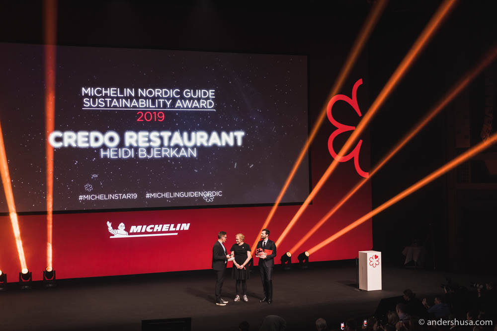Heidi Bjerkan receives the Sustainability Award and later her first Michelin star